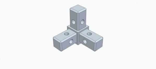 Rohrverbinder, T-Form für Raumecke
